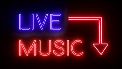 Live music neon sign lights logo text glowing multicolor 4K Stock Footage
