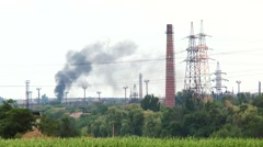 Black smoke from industrial plants Stock Footage