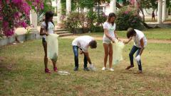 24 Environment Nature Ecology People Friends Collecting Trash In Park Stock Footage