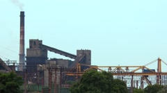 Industrial buildings Pipe from which goes smoke a metallurgical plant Stock Footage
