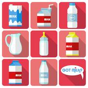 flat icons with long shadow of milk - stock illustration