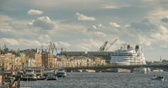 Cruise liner on the river Neva in St. Petersburg - stock photo