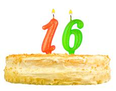 birthday cake candles number sixteen isolated - stock photo