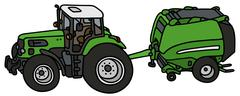 Tractor with a hay binder - stock illustration