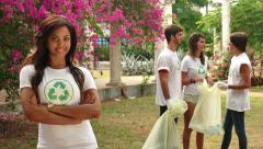 26 Environment Protection With Happy Confident Woman Young People Group - stock footage