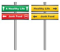 Junk food or a healthy life Stock Illustration