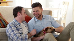 Male couple talking and petting their dog Stock Footage