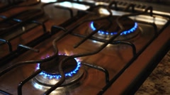 Gas burning from a kitchen gas stove Stock Footage