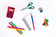 Studying maths and doing math calculations as homework. - stock photo
