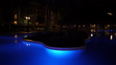 Night view of the pool of Vista Sol Hotel in Punta Cana Stock Footage