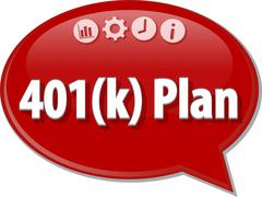401(k) plan Business term speech bubble illustration Stock Illustration