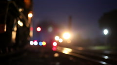 Light flare: steam trains with white vapors driving at night Stock Footage