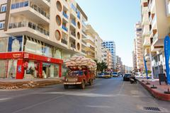 Truck on the street in Alanya Stock Photos