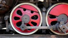 Train wheel starting moving Stock Footage