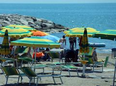 Stock Photo of colorful parasol on the beach