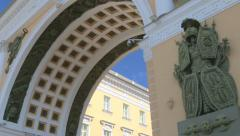 The arch of the General staff. The Palace square. Saint-Petersburg Stock Footage