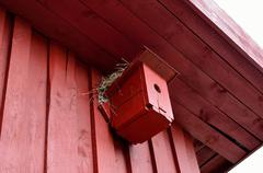 Small red bird house with nest on top Stock Photos