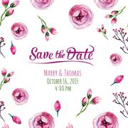 Vector invitation card with watercolor elements. Wedding collect - stock illustration