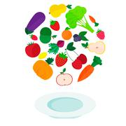 Plate with fresh vegetables and fruits Stock Illustration