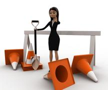 3d woman with diiger tool and traffic cones to stop concept - stock illustration