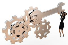 3d woman tightening nut and gears using mechanical wrench concept Stock Illustration