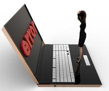 3d woman found error on laptop screen concept Stock Illustration