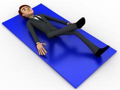 Stock Illustration of 3d man doing yoga on blue carpet concept