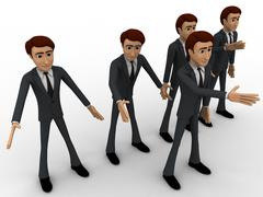3d group of men walking with leader in front concept - stock illustration
