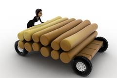Stock Illustration of 3d woman draw timber on hand truck concept