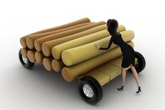 3d woman draw timber on hand truck concept - stock illustration