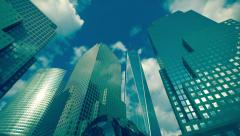 Panning over modern New York City skyscrapers Stock Footage