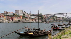 View of Ribeira historical quarter, on the margin Douro river Stock Footage