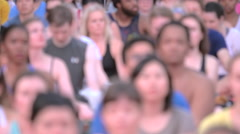 International Day of Yoga, unrecognisable crowd of people in Times Square NYC Stock Footage