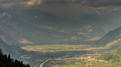 Storm covering Rhone valley Switzerland time lapse Stock Footage