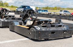 Close up of kart on speedway track from back Stock Photos