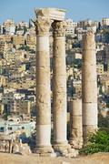 Ancient stone columns at the Citadel of Amman, Jordan. Stock Photos