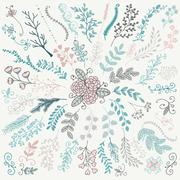 Vector Hand Sketched Rustic Floral Doodle Branches Stock Illustration