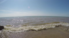 Waves on Lake Michigan and Blue Skies on Clear Day Stock Footage