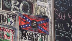 Zoom In To Dollar Bill Decorated With Confederate Flag Among Other Money Art. Stock Footage