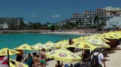 Sint Maarten 070 Maho Beach beach life where the planes are landing Stock Footage