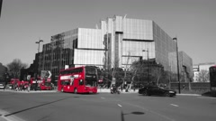 Red London Bus Monochrome Background Stock Footage