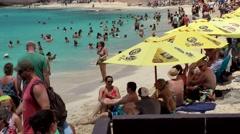 Sint Maarten 083 Maho Beach very full beach in medium shot Stock Footage