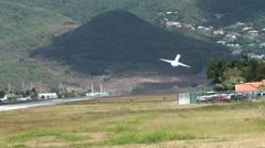 Sint Maarten 089 Princess Juliana Airport aircraft take off at mountain Stock Footage