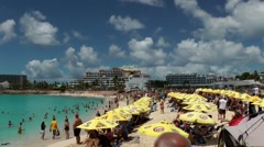 Sint Maarten 092 Maho Beach sports aircraft and fantastic cloudscape Stock Footage