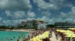 Sint Maarten 094 Maho Beach arriving US Airways passenger aircraft Stock Footage