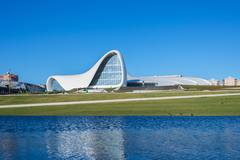 BAKU- DECEMBER 27: Heydar Aliyev Center on December 27, 2014 in Baku, Azerbaijan - stock photo