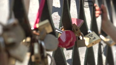 Love locks at bridge at Campiello Drio La Pieta in Venice Stock Footage