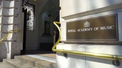 Royal Academy of Music architectural detail, London - stock footage