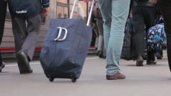 Passengers with luggage on the platform of the Moscow railway station Stock Footage