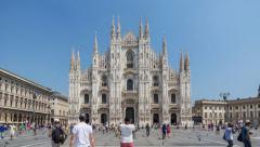 Milan city timelapse at Milano Duomo Cathedral, Milan, Italy, 4K time lapse Stock Footage